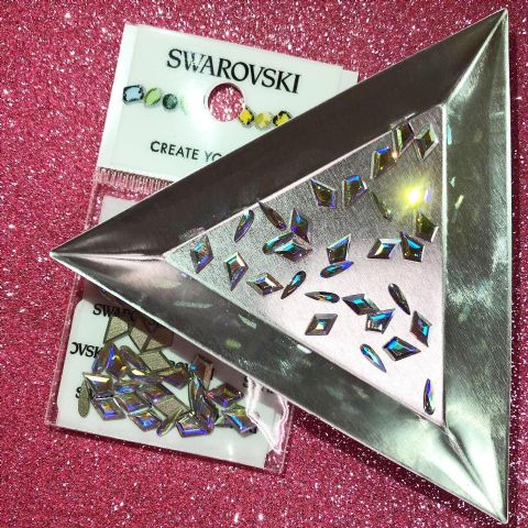 Mixed Pack of 30pc Swarovski Flatback Shapes (Diamond/Kite/Raindrop), Non-Hotfix, Crystal AB.
